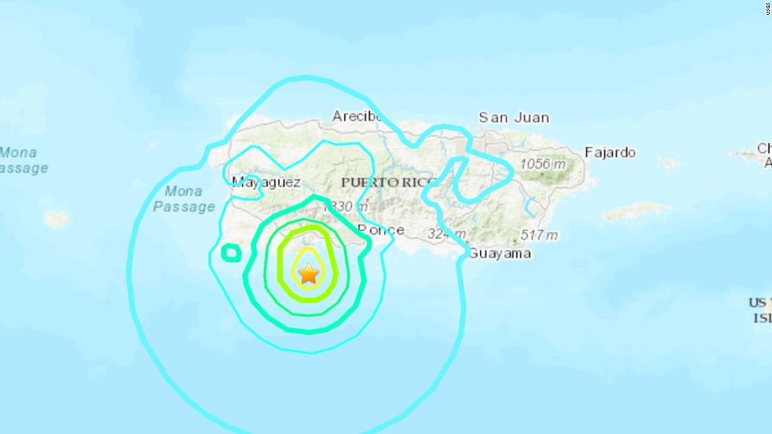 Puerto Rico traf mit einem 5.8-Erdbeben der Stärke