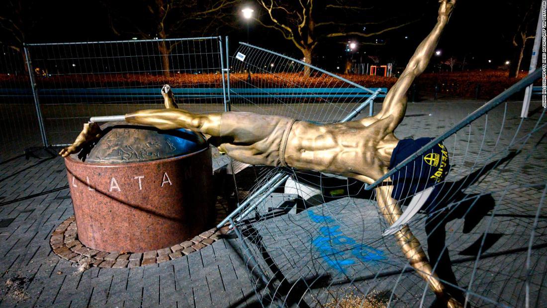 Zlatan Ibrahimovic statue vandalized again