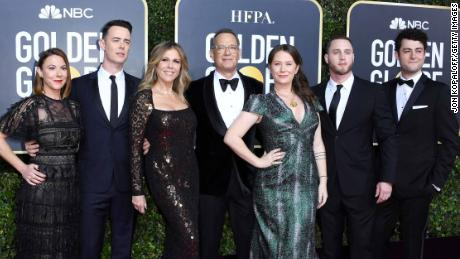 Tom Hanks' family were out in force to support him at the Golden Globes.