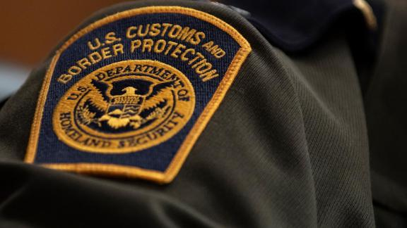 A U.S. Customs and Border Protection patch on a U.S. Border Patrol agent is seen in April 2019.