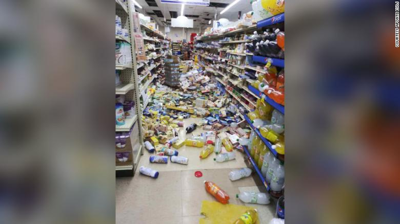 The floor of Supermercado Napo Vélez in Guayanilla was littered with goods that fell from shelves in Tuesday's quake.