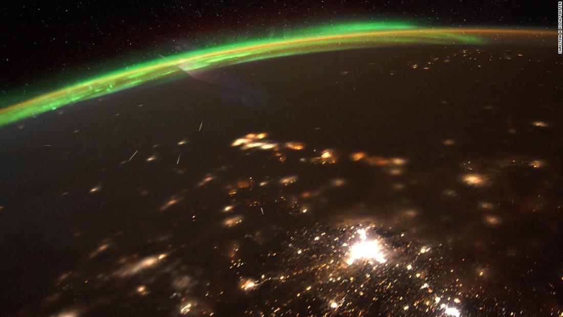 Der NASA-astronaut Aktien schöne Bild von 2020 mit dem ersten Meteoritenschauer