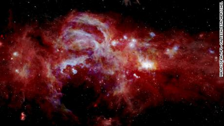 A new composite infrared image of the center of our Milky Way galaxy.