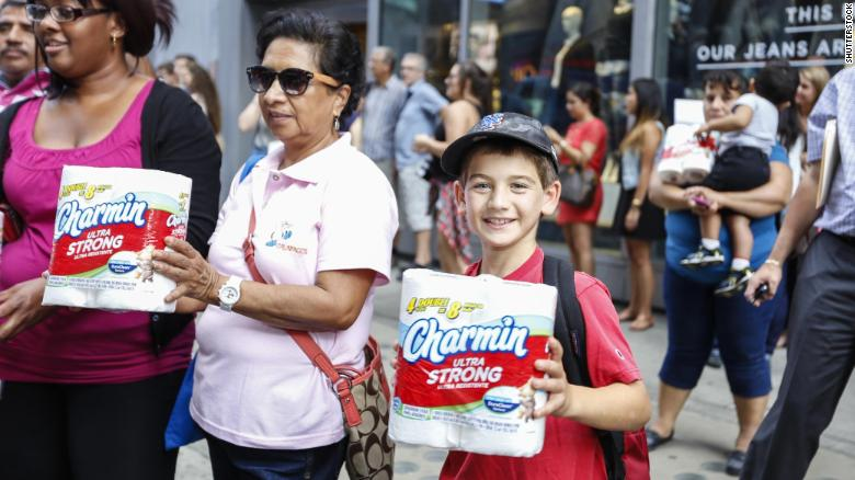 Charmin bathroom tissue celebrated National Toilet Paper Day in Times Square with a truck of free toilet paper on Aug. 26, 2014.