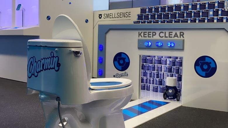 Charmin's futuristic GoLab bathroom stall is on display now at the 2020 International Consumer Electronics Show inside the Las Vegas Covention Center in Las Vegas.