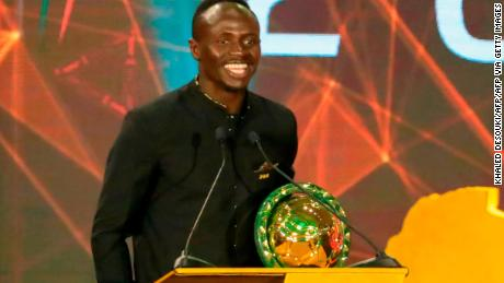 Mane speaks after winning the Player of the Year award during the 2019 CAF Awards in the Egyptian resort town of Hurghada on January 7, 2020.