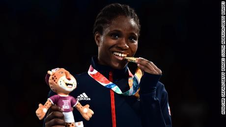 Caroline Dubois celebrates winning gold at the 2018 Youth Olympics.