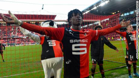 Eduardo Camavinga greets fans after Rennes' French Cup victory over Amiens.