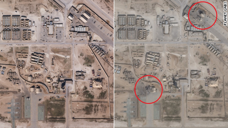 Satellite images appear to show damage from Iranian missile strikes at Iraqi base