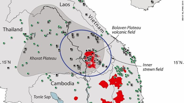 The crater may lie beneath the Bolaven plateau volcanic field in Laos.
