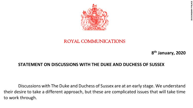 "In a statement, Buckingham Palace said it would ""take time"" to resolve the issue."