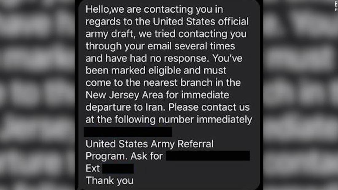 軍警告して偽の軍事案のテキストメッセージ