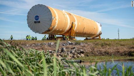 NASA's Space Launch System (SLS) rocket's core stage, complete with all four RS-25 engines, is transported from NASA's Michoud Assembly Facility in New Orleans to the agency's Pegasus barge on Wednesday.