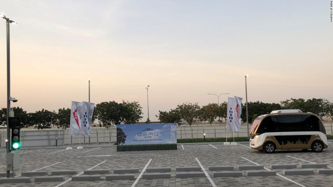 Demonstration with an autonomous vehicle from French company Navya in the Dubai World Challenge for self-driving transport. Derq's system is mounted on the left pole.