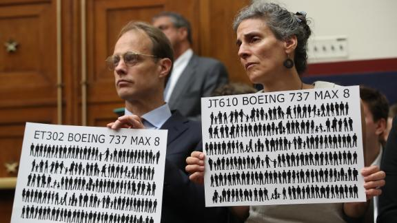 Michael Stumo and his wife Nadia Milleron, parents of Samya Rose Stumo, who was killed when Ethiopian Airlines FlightET302 crashed, listen to testimony during a House Transportation and Infrastructure Committee hearing on Capitol Hill June 19, 2019 in Washington, DC.
