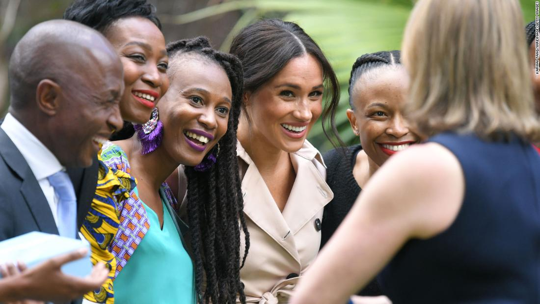 Meghan is photographed during a royal tour of South Africa in October 2019.