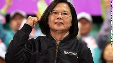 President Tsai Ing-wen gestures on stage during a rally on Wednesday, January 8 in Taoyuan, Taiwan, before Saturday's presidential elections.