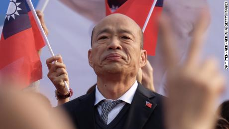 Han Kuo-Yu, the main presidential candidate of the opposition Kuomintang of Taiwan, attends a campaign rally on January 4 in Tainan, in southern Taiwan.