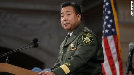 San Francisco Sheriff Paul Miyamoto speaks at his swearing-in ceremony at City Hall.