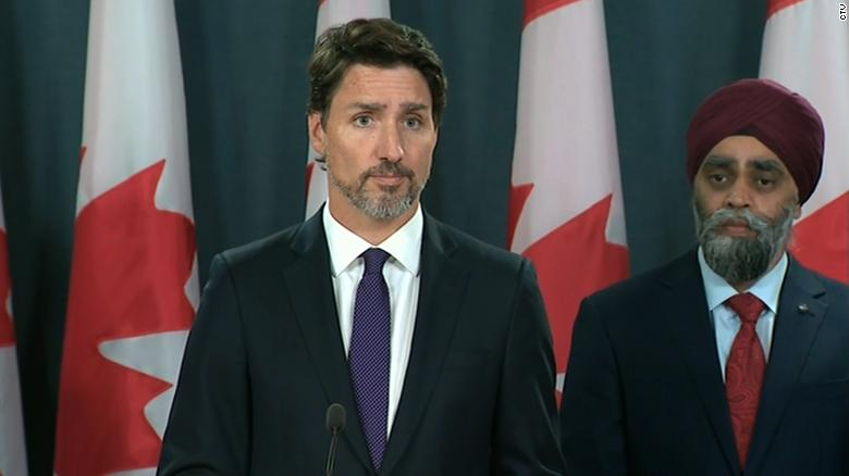 Canadian Prime Minister Justin Trudeau speaks Thursday, January 9, during a news conference in Ottawa about the downed Ukrainian jetliner. At least 63 Canadians were killed.
