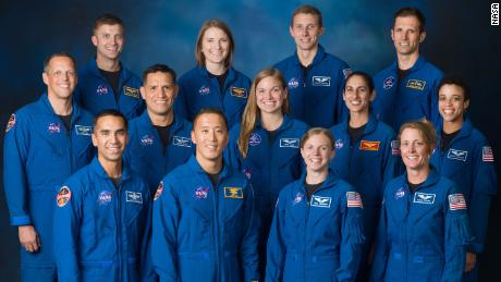 The 2017 class includes (top row) Matthew Dominick of NASA, Kayla Barron of NASA, Warren Hoburg of NASA, and Joshua Kutryk of CSA, (middle row) Bob Hines of NASA, Frank Rubio of NASA, Jennifer Sidey-Gibbons of CSA, Jasmin Moghbeli of NASA, and Jessica Watkins of NASA, (bottom row) Raja Chari of NASA, Jonny Kim of NASA, Zena Cardman of NASA, and Loral O'Hara of NASA