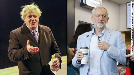 Boris Johnson eats a bun with Gregg's sausages and Jeremy Corbyn in a shop ahead of the 2019 general election.