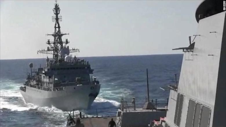 Watch Russian warship 'aggressively' encounter US ship