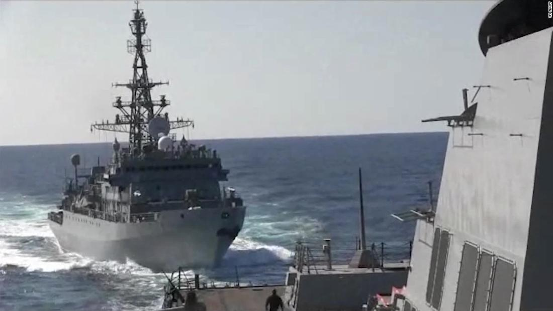 Video shows Russian warship 'aggressively' encounter US ship - CNN Video