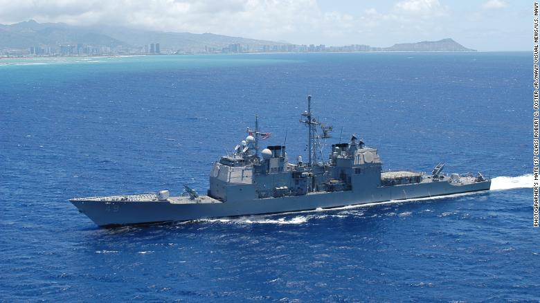 The guided-missile cruiser USS Vincennes is pictures off Honolulu in 2005.
