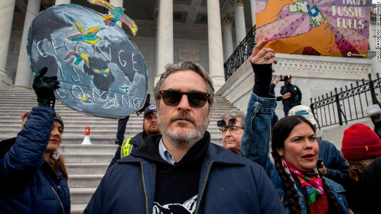 Joaquin Phoenix at the protest.
