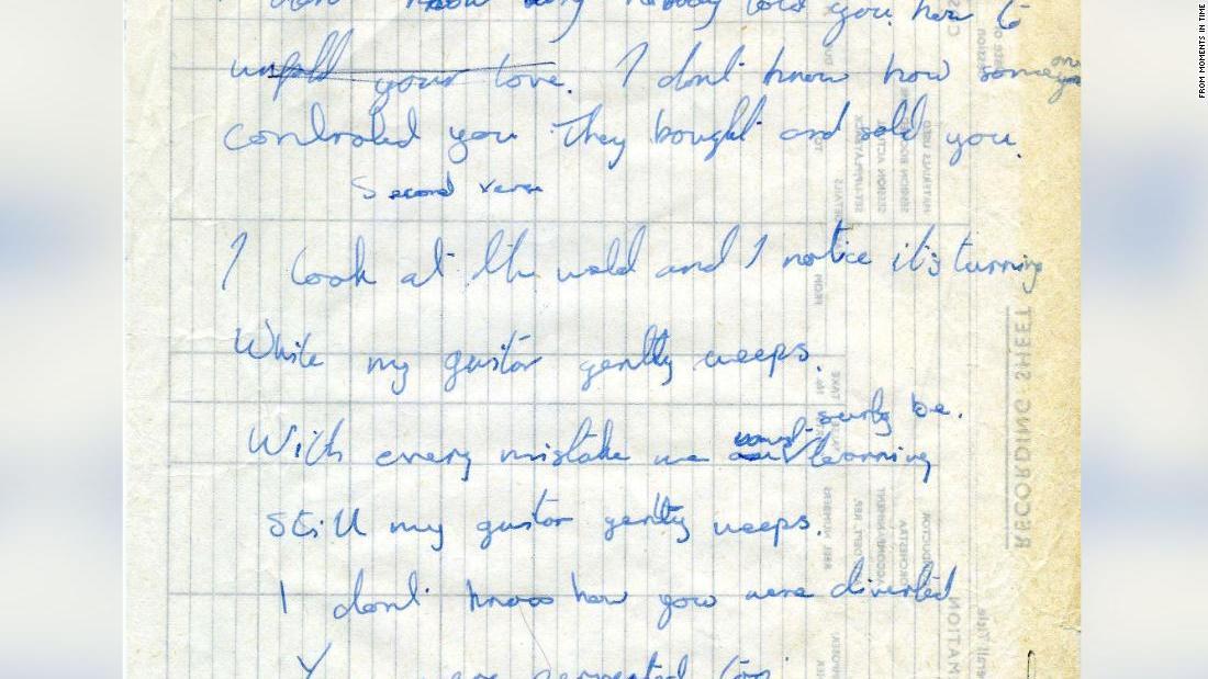 George und Ringo, das handgeschriebene Text Des Beatles', 'Während Meine Gitarre Sanft Weint' sind für den Verkauf