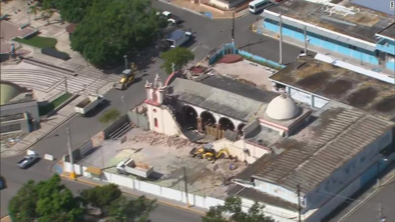 An aerial photo shows the destruction at the the Church of the Immaculate Conception in Guayanilla.