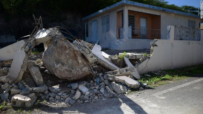 A big rock rolled down a nearby cliff in Guanica when a 5.9 quake struck Puerto Rico on Saturday.