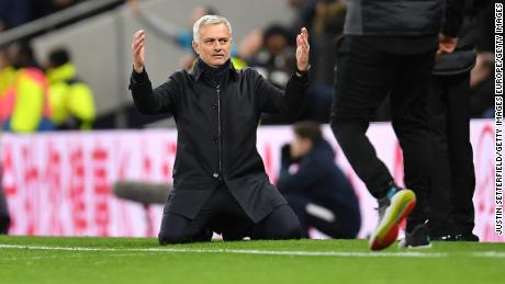Jose Mourinho reacts after watching his Tottenham side run Liverpool close.