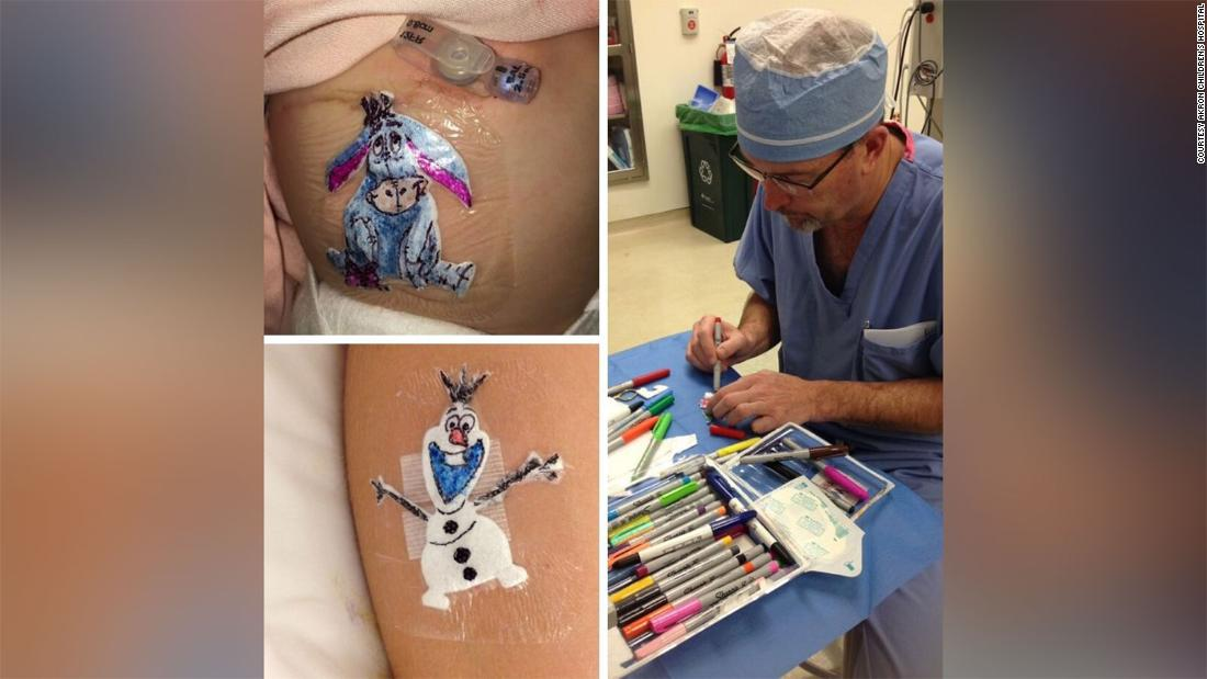 Surgeon draws cartoons on kids' bandages to make the hospital experience less scary