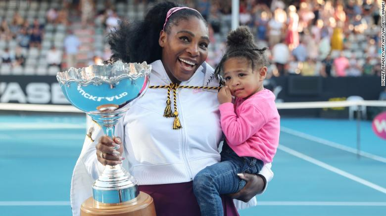 Serena Williams celebrates her Auckland, New Zealand, win with her daughter, Alexis Olympia.