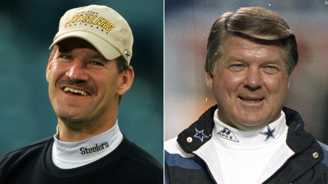 Το θρυλικό NFL προπονητές Bill Cowher και ο Τζίμι Τζόνσον ανακάλυψε ζωντανά στην ΤΗΛΕΌΡΑΣΗ που έχουν εκλεγεί για να το Pro Football Hall of Fame