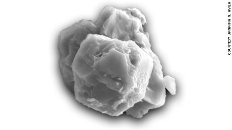 A magnified view of a preosolar grain, or stardust. The grain is  about 8 micrometers.