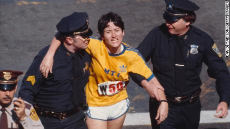 Rosie Ruiz is shown moments after crossing the finish line as the apparent women's race winner of the 84th Boston Marathon on April 21, 1980 in Boston.
