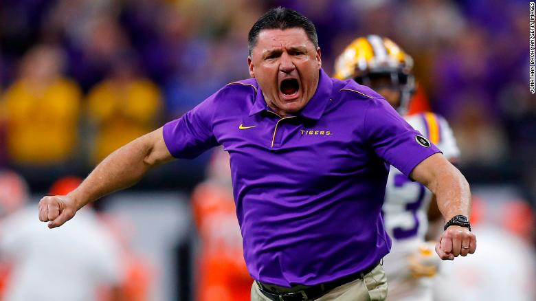 LSU's head football coach reveals 'most' of his team has had Covid-19