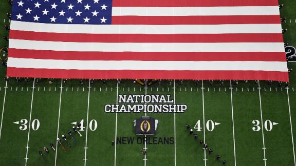 An aerial view as the National Anthem is performed before the start of the game.