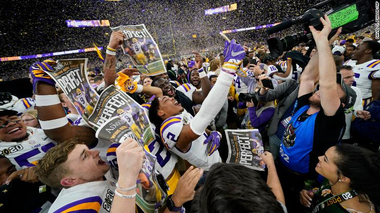 LSU celebrates after their win against Clemson on Monday night.