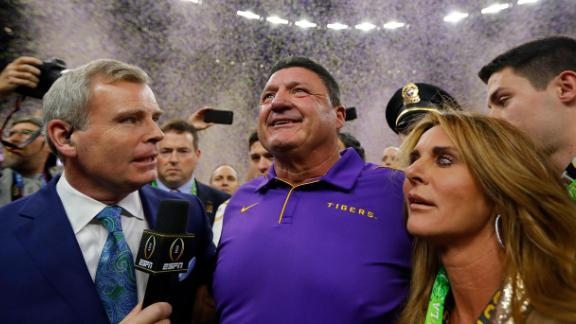Orgeron is interviewed on the field after the game. This is the first championship for Orgeron, a Louisiana native.
