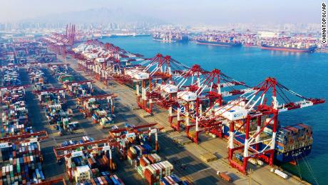 A view of the container port in Qingdao in east China's Shandong Province on Tuesday, January 14, 2020.