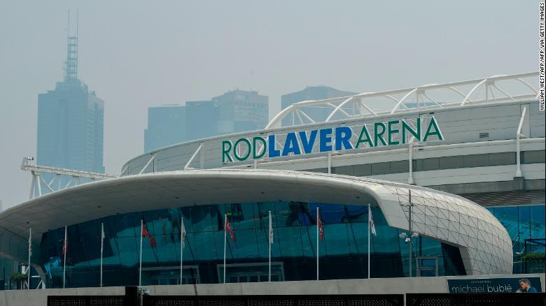 A smoke haze from bushfires hangs over Melbourne Park's Rod Laver Arena.