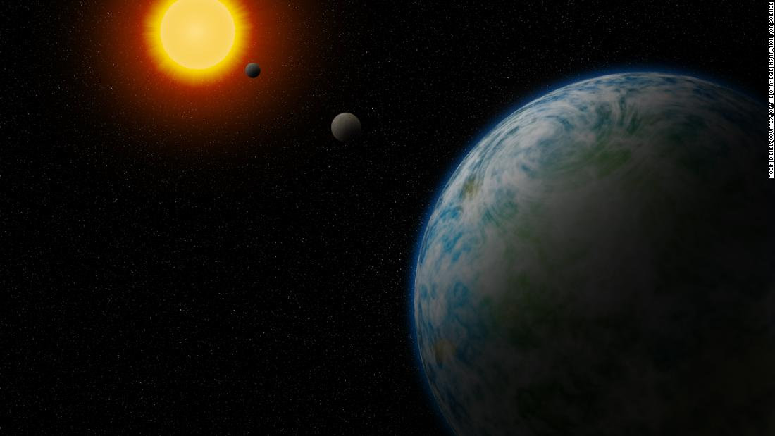 This is an artist's concept of GJ180d, the nearest temperate super-Earth to us with the potential to support life.