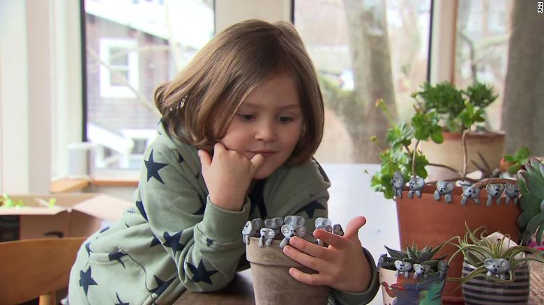 Six-year-old Owen Colley has made about 55 clay koalas so far.