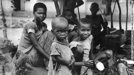 A starving Biafran family during the famine resulting from the Biafran War.