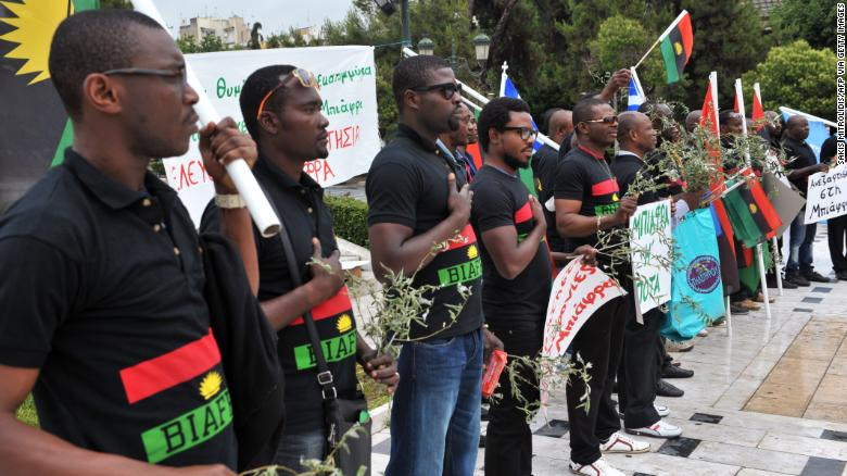 People from Biafra gather during a worldwide demonstration organised by the Indigenous People of Biafra in 2014