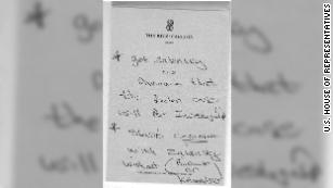 "A hand-written note on stationary from the Ritz-Carlton in Vienna, Austria, which Lev Parnas' attorney Joseph Bondy said was written by his client, The letter reads: ""get Zalensky (sic) to Annonce (sic) that the Biden case will Be Investigated."""